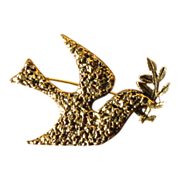 Vintage Zentall Dove & Olive Branch Pin