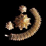 Vintage 1970's Avon Starflower Demi Parure with Bracelet, Brooch & Earrings