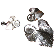 Vintage Carl Art Sterling Silver Etched Leaf Brooch & Earrings Set
