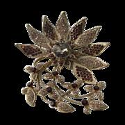 Vintage Large Crystal Rhinestone Flower Brooch