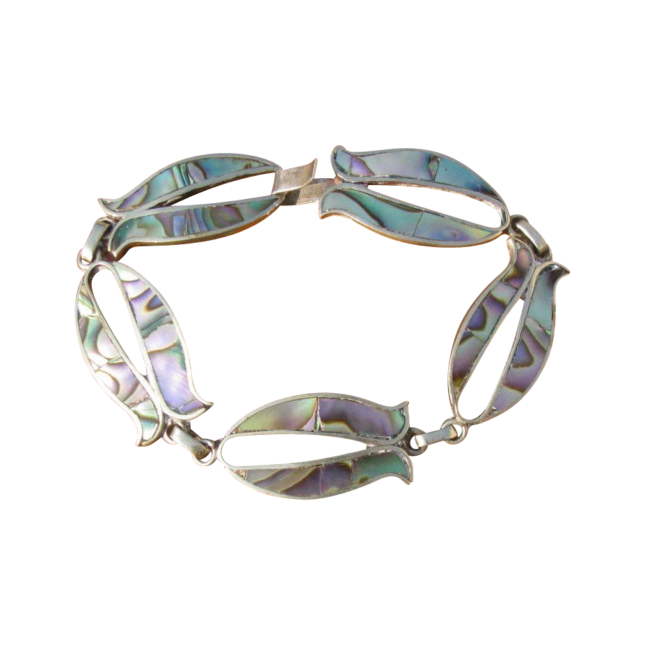 Vintage 1930's Mexican Sterling Silver & Abalone Fish Link Bracelet