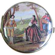 SALE Vintage Pastoral Scene Double Sided Mirror Compact