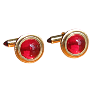 SALE Vintage Krementz Red Lucite and Goldtone Cufflinks