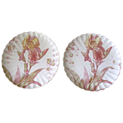 Antique Cauldon Ware Pink and Gold Iris Plates - Set of 2
