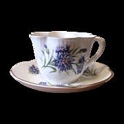Vintage 1950's Crown Staffordshire Purple Aster Teacup and Saucer Set