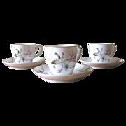 Vintage Hand Painted Porcelain Demitasse Cups - Set of 3