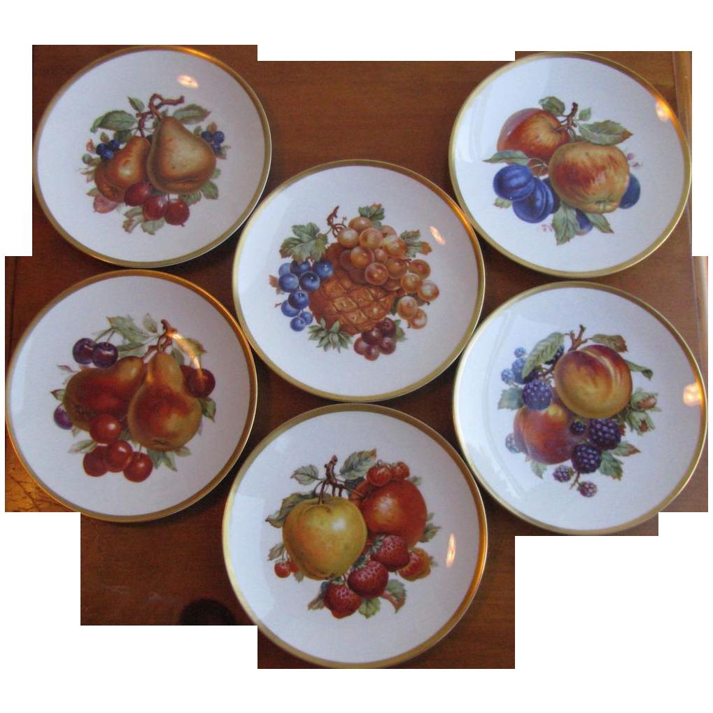 Vintage Mitterteich Bavarian Porcelain Fruit Plates - Set of 6