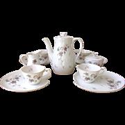 Vintage Leaf Motif Tea Set in Purple & Gray - 11 Piece