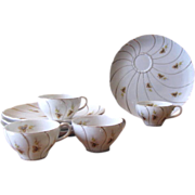 Vintage Yellow Rose Porcelain Tea & Snack Plates - Service for 4
