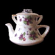 Vintage 1950's Lefton Violets Stackable Teapot with Sugar Bowl