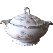 SALE Vintage 1940's Edelstein Bavaria Soup Tureen - Silver Trimmed with Pink & Gray Florals -