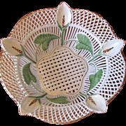 Vintage Porcelain Calla Lily Open Weave Bowl