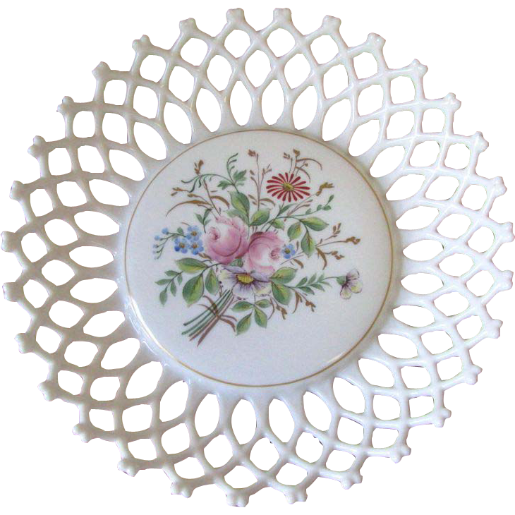 Vintage 1950's Westmoreland Lattice Milk Glass Bowl with Floral Motif
