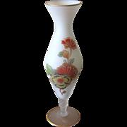 Vintage Norleans White Satin Glass Floral Bud Vase