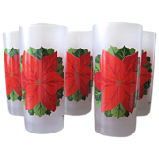 SOLD Vintage Poinsettia Tumbler Glasses from Georges Briard - Set of 8