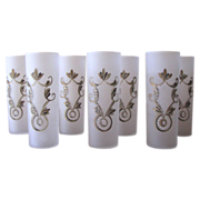 SOLD 1950's Frosted Hand Painted Collins Glasses from Federal Glass - Set of 7