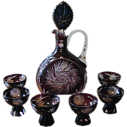 SALE Vintage 1920's Cut to Clear Aubergine Crystal Decanter Set Germany