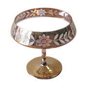 Vintage Pink and Gold Cut Glass Footed Compote or Candy Dish