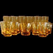 SOLD RESERVED - Vintage 1960's Amber Dots Glassware Set from Hazel Atlas - 36 Piece