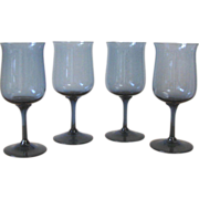 Vintage London Blue Wine Glasses - Set of 4