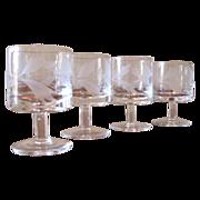 Vintage Hand Blown Floral Etch Cordial Glasses - Set of 4