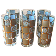 SOLD Mid Century Turquoise & Gold Geometric Tumblers - Set of 6