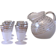 SOLD Mid Century Frosted & Chrome Striped Pitcher and Juice Glass Set