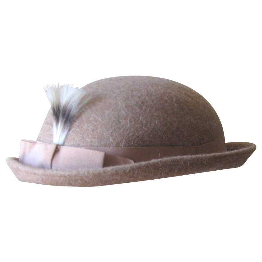 Retro 1930's Tan Wool Hat with Grosgrain Ribbon and Feather Accent