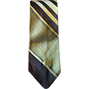 Vintage 1970's Brown, Gold & Pale Yellow Oleg Cassini Men's Tie
