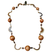 Vintage 1970's Buffalo Horn and Wood Bead Necklace