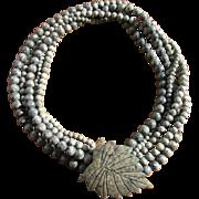 Vintage Gray Jasper Bead Torsade Necklace with Etched Leaf Clasp