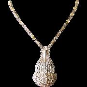 Vintage Monet Ornate Flower Pendant Necklace