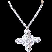 Vintage 1960's / 1970's Crown Trifari White Scroll Cross Pendant Necklace