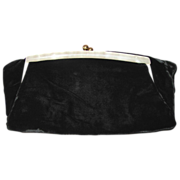 Vintage Ingber Black Velvet Clutch Purse