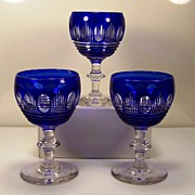 SOLD Anglo-Irish BLUE CUT TO CLEAR Wine Glasses (3) | ca. 1860-1890 |