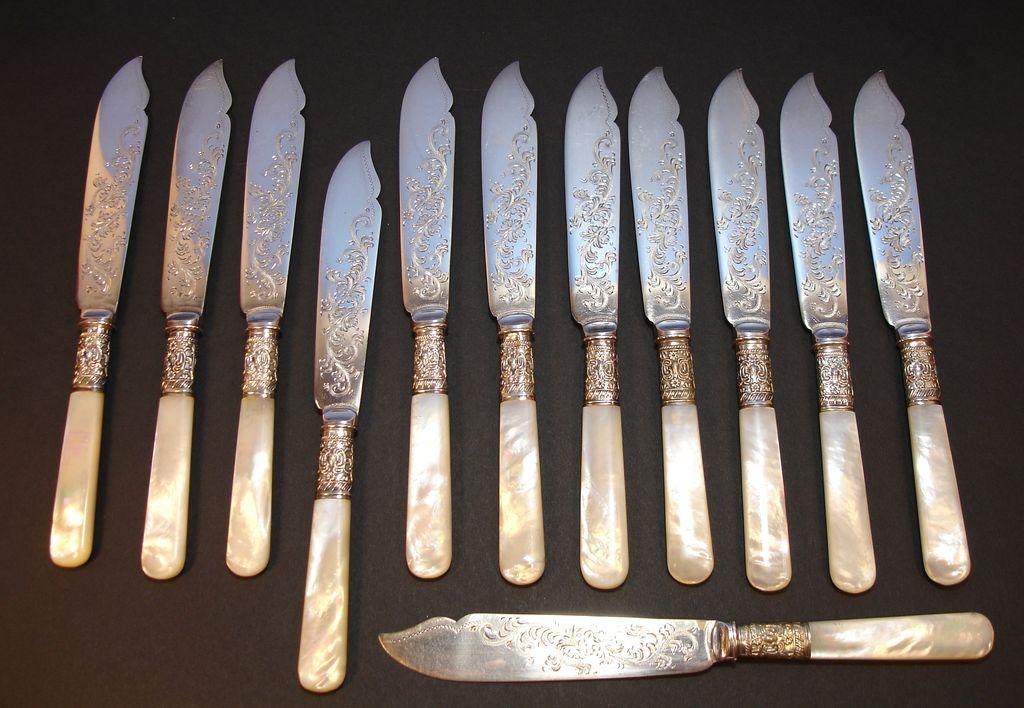 English Pearl Handled Fish Knife Set   EPNS   Sheffield