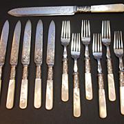 SOLD English Pearl Handled Fruit Knife/Fork Set | EPNS | Sheffield