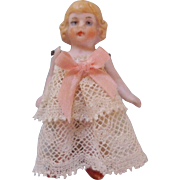 """Tiny, Sweet, Tinted Pink 2-1/2"""" All Bisque Girl in a Lace Dress"""