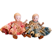 """SALE Pair of 4-1/2"""" Antique German All Bisque Twins in Crocheted Dresses"""