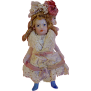 SOLD Lilliputian SFBJ All Bisque Sweet Maiden in Victorian Style Costume