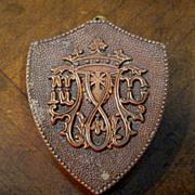 Vintage Shield Shaped Copper Snuff Box With Crown Insignia, Circa 1930