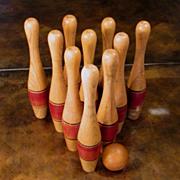 Vintage Wood Bowling Pins And Ball, Circa 1950
