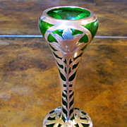 Art Nouveau Emerald Green Glass Vase With Sterling Overlay, Circa 1900