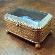 Vintage Brass With Beveled Glass Top Trinket Box, Circa 1910