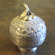 Antique Chinese Silver Apple Shape Box, Circa 1890