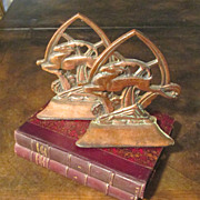 Art Deco Leaping Gazelle Bookends, Circa 1925