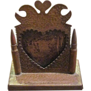 SOLD Trench Art World War I Heart Shaped Picture Frame