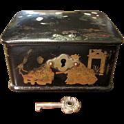 Black Lacquer Papier Mache Hinged Lid Box With Key, Circa 1900