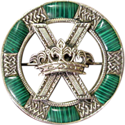 SOLD Victorian Scottish Silver And Malachite St Andrew's Cross With Crown Brooch, Circa 1900