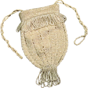 Hand Beaded Drawstring Purse, Circa 1920